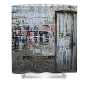 Old White Door In A Wall Shower Curtain