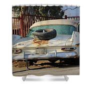 Old White Plymouth In Natural Sunset Shower Curtain
