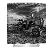 Old White Tractor In The Field Shower Curtain