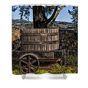 Old Wine Barrel And Wagon - Napa Valley Shower Curtain