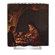 Old Woman Cutting Bread Shower Curtain