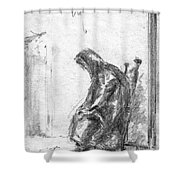 Old Woman In Chair Shower Curtain