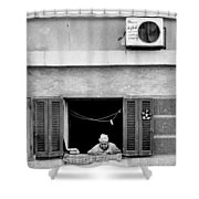 Old Woman In Window  Shower Curtain