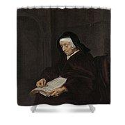 Old Woman Meditating, Gabriel Metsu, C. 1661 - C. 1663 Shower Curtain