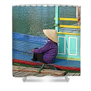 Old Woman On A Colorful River Boat Shower Curtain