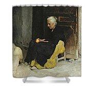 Old Woman Peeling An Orange.  Lunch. Elche Spain Shower Curtain