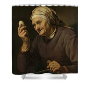 Old Woman Selling Eggs, 1632 Shower Curtain