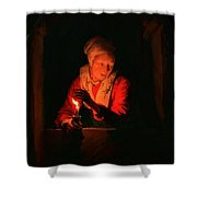 Old Woman With A Candle Shower Curtain