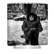 Old Women Selling Woollen Socks On The Street Monochrome Shower Curtain