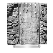 Old Wood Door  And Stone - Vertical Bw Shower Curtain