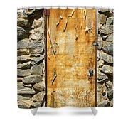 Old Wood Door And Stone - Vertical  Shower Curtain