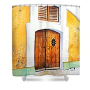 Old Wood Door Arch And Shutters Shower Curtain