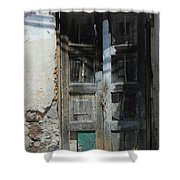 Old Wood Door In A Wall Shower Curtain