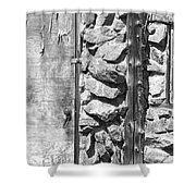 Old Wood Door Window And Stone In Black And White Shower Curtain