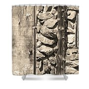 Old Wood Door Window And Stone In Sepia Black And White Shower Curtain