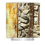 Old Wood Door Window And Stone Shower Curtain