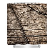 Old Wooden Board With Notches By Sawing Shower Curtain