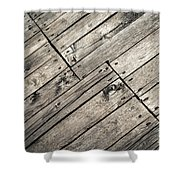 Old Wooden Boards Nailed Shower Curtain
