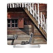 Old Wooden Cabin Log Detail Shower Curtain