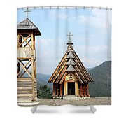Old Wooden Church And Bell Tower Shower Curtain