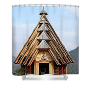 Old Wooden Church On Mountain Shower Curtain