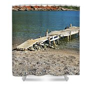 Old Wooden Dock Shower Curtain
