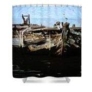 Old Wooden Fishing Boat Shower Curtain