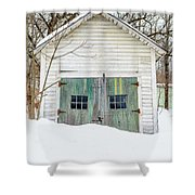 Old Wooden Garage In The Snow Woodstock Vermont Shower Curtain