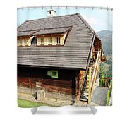 Old Wooden House On Mountain Shower Curtain
