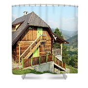 Old Wooden House On Mountain Landscape Shower Curtain
