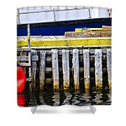 Old Wooden Pier In Newfoundland Shower Curtain