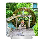 Old Wooden Water Wheel  Shower Curtain