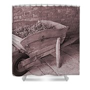 Old Wooden Wheelbarrow Shower Curtain