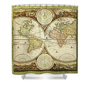 Old World Map On Gold Shower Curtain