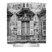 Old Yellow Building With Lace Curtain In Nice, France, Black And Shower Curtain