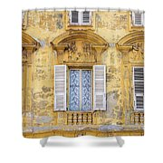 Old Yellow Building With Lace Curtain In Nice, France Shower Curtain