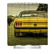 Old Yellow Mustang Rear View In Field Shower Curtain