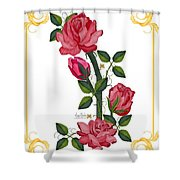 Olde Rose Pink With Leaves And Tendrils Shower Curtain