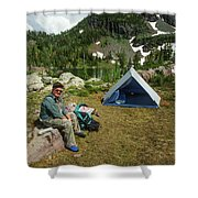 Older Man Resting In Backpacking Camp Shower Curtain