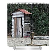 Oldtime Outhouse - Digital Art Shower Curtain