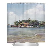 O' Leary's Tiki Bar And Grill On Sarasota Bayfront Shower Curtain