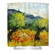 Olive Trees And Poppies  Shower Curtain