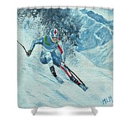 Olympic Downhill Skier Shower Curtain
