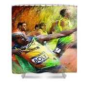 Olympics 100 M Gold Medal Usain Bolt Shower Curtain