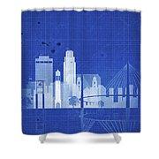 Omaha Blueprint Skyline Shower Curtain