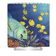 Omilu Bluefin Trevally Shower Curtain