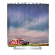 Ominous Clouds Over The Aggie Barn In Reagan, Texas Shower Curtain