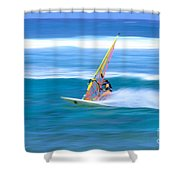 On A Calm Blue Ocean Shower Curtain