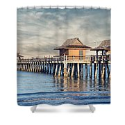 On A Cloudy Day At Naples Pier Shower Curtain