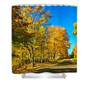 On A Country Road 4 - Paint Shower Curtain